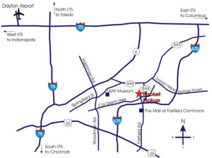 Map to Wright State University Nutter Center