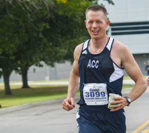 A racer competes during the 19th Annual U.S. Air Force Marathon Saturday, Sept. 19, 2015, on Wright-Patterson Air Force Base, Ohio. The marathon maxed out its entries with 15,000 competitors racing in the 10-kilometer, half marathon, and full marathon; along with more than 2,000 service members running in deployed locations around the world. The first Air Force Marathon took place in 1997 and had 2,600 racers. (U.S. Air Force photo by Tech Sgt Eunique Thomas)