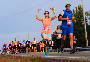 Marathon participants run the 19th Annual U.S. Air Force Marathon, Sept. 19, 2015, near Wright-Patterson Air Force Base, Ohio. Thousands of runners and cclists from across the country attended the three-day event that began Sept. 17 and included a Sport and Fitness Expo, Gourmet Pasta Dinner and a full, and half marathon, 10K, and 5K race. (U.S. Air Force photo by Senior Airman Matthew Lotz/Unreleased)(Released.  Brian Duke, 88 ABW/PA)