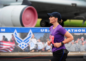A marathon participant runs the 19th Annual U.S. Air Force Marathon, Sept. 19, 2015, near Wright-Patterson Air Force Base, Ohio. Thousands of runners and cclists from across the country attended the three-day event that began Sept. 17 and included a Sport and Fitness Expo, Gourmet Pasta Dinner and a full, and half marathon, 10K, and 5K race. (U.S. Air Force photo by Senior Airman Matthew Lotz/Unreleased)(Released.  Brian Duke, 88 ABW/PA)