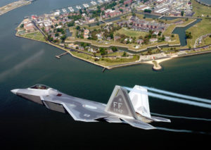 OVER VIRGINIA -- Lt. Col. James Hecker flies over Fort Monroe before delivering the first operational F/A-22 Raptor to its permanent home at Langley Air Force Base, Va., on May 12.  This is the first of 26 Raptors to be delivered to the 27th Fighter Squadron.  The Raptor program is managed by the F/A-22 System Program Office at Wright-Patterson AFB, Ohio.  Colonel Hecker is the squadron's commander.  (U.S. Air Force photo by Tech. Sgt. Ben Bloker)